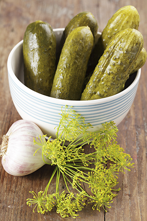 Pickled cucumbers with dill, garlic and pepper