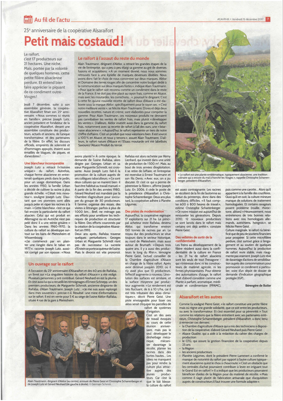 Annonce presse de L'Est Agricole et Viticole - Le Raifort - Petit mais costaud