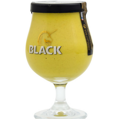 Moutarde Bière Black Brasserie Licorne dans son verre galopin